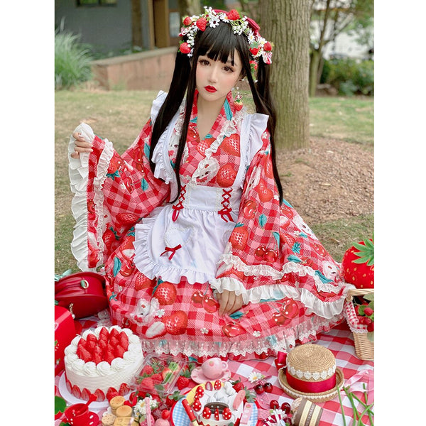 Cherry & Strawberry ~ Kimono Style Lolita Skirt with Cardigan Set by Diamond Honey