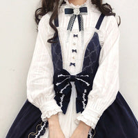 White Lolita Blouse Ruffled Collar Long Sleeve Cotton Shirt for Women