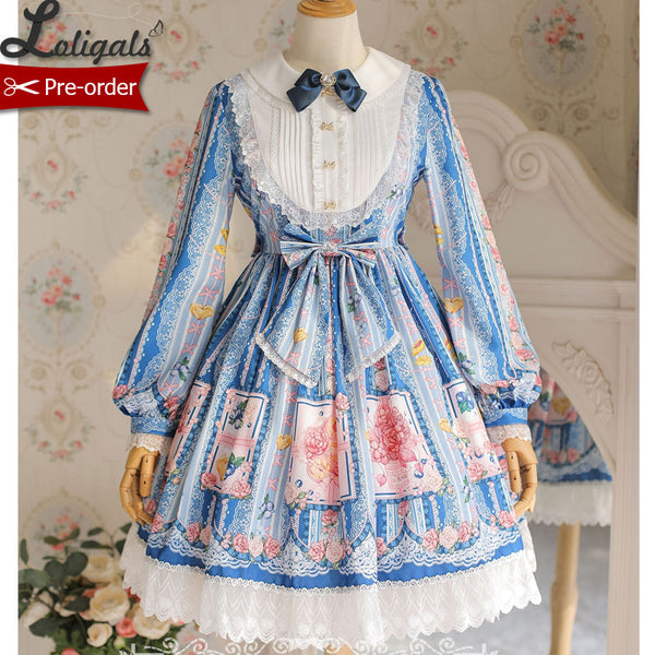 Berries & Flowers ~ Sweet Printed Long Sleeve Lolita Dress ~ Pre-order