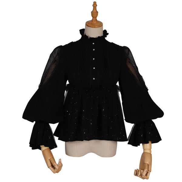 Black Lolita Blouse Gothic Vintage Stand Collar Long Sleeve Shirt by YLF