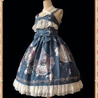 Mermaid Princess ~ Sweet Printed Lolita JSK Dress Criss Cross Neck Party Dress by Infanta