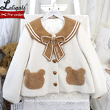 Bear School ~ Sweet Wool Jacket Letter Embroidered Sailor Collar Lolita Coat by Alice Girl ~ Pre-order