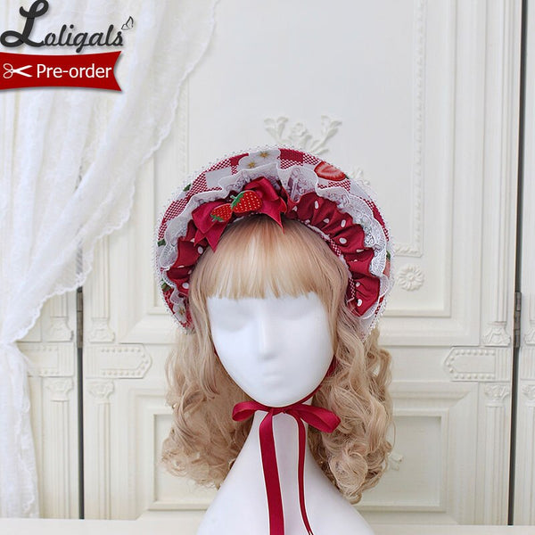 Strawberry & Plaid ~ Sweet Lolita Bonnet Hat by Alice Girl ~ Pre-order