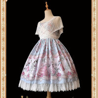 The Dancing Party ~ Sweet Printed Lolita Dress with Lace Shrug by Infanta