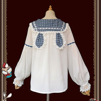 Sweet Lolita Chiffon Blouse Long Sleeve White Top with Polka Dot Rabbit Ear Collar