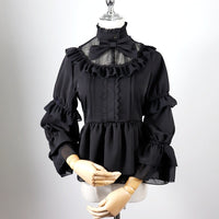 Gothic Illusion Neck Long Sleeve Top Chiffon Lolita Blouse