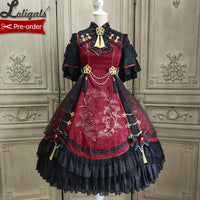 Magpies Leaving the Branch ~ Retro Style Qi Lolita Dress Short Sleeve Vintage Dress by Alice Girl ~ Pre-order