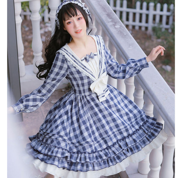 The Rhine River ~ Classic Sailor Collar Long Sleeve Plaid Lolita Dress by Strawberry Witch