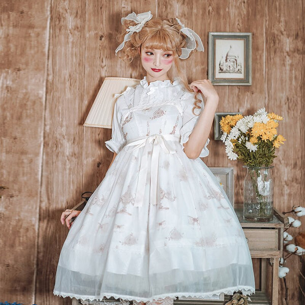 Fairy Sweet Printed Lolita Casual Dress & White Blouse