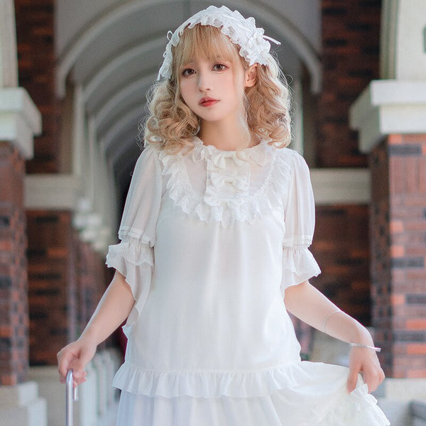 Cicadas' Chirp ~ Sweet Lolita Chiffon Top Half Sleeve White Blouse