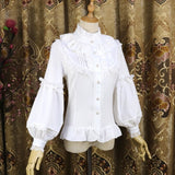 Ruffled Collar Lolita Blouse Vintage Long Lantern Sleeves Chiffon Shirt