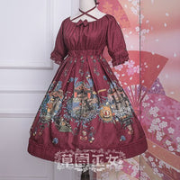 Chipol's Fairytale Land ~ Sweet Printed Criss Cross Short Sleeve Lolita Dress by Strawberry Witch
