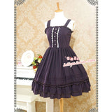 Classic Lolita Sleeveless Chiffon Dress Sweet Ruffled Midi Dress