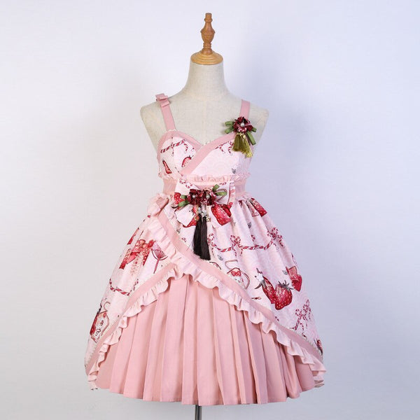 Strawberry & Bow ~ Printed Sweet Lolita Dress