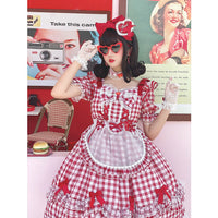 Short Sleeve Plaid Lolita Dress Sweet Casual Summer Dress by Diamond Honey