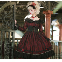 Gothic Lolita Lace Dress Long Sleeve off the Shoulder Party Dress by Miss Point