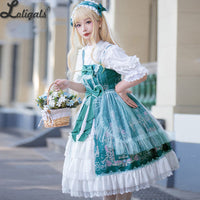 Flowery Fairyland ~ 2020 Vintage Printed Sleeveless Lolita Dress Midi Party Dress