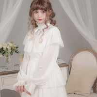 Women's Lolita Blouse with Cape Long Sheer Striped Sleeve Chiffon Shirt by Dolly Delly