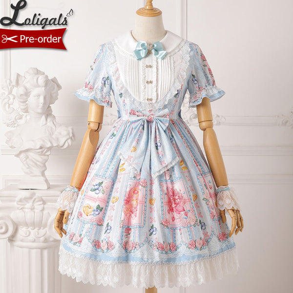 Berries & Flowers ~ Sweet Printed Short Sleeve Lolita Dress Pre-order