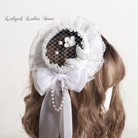 Sweet Lolita Headpiece Top Hat Lace Veil Fascinator Accessories for Wedding