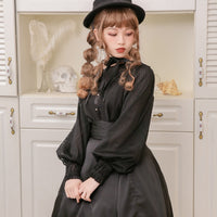 Pointed Bat Collar Long Sleeve Lolita Blouse Gothic Chiffon Shirt for Women by Dolly Delly