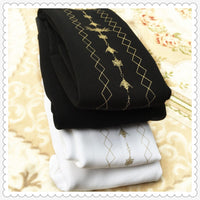 Women's Winter Warm Tights Gold Patterned High Elastic Waist Velvet Legging Thick Lolita Tights