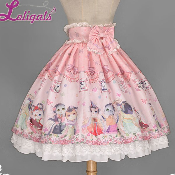 Kitten in Garden Printed Sweet Lolita Skirt by Soufflesong