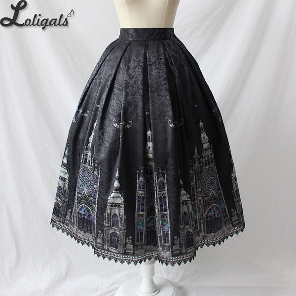 Gothic Women's Midi Skirt Church Printed A line Skirt by Alice Girl Pre-order