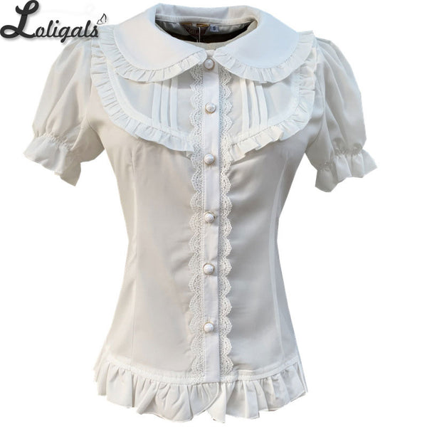 2019 Summer Chiffon Blouse Peter Pan Collar Short Sleeve Lolita Shirt