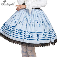 Sweet Mori Girl Light Sky Blue Music Note Printed Short Skirt for Summer