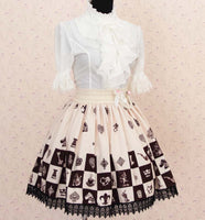 Sweet Lolita Noble Alice Chess Checkered Lady's Pleated Skirt