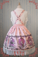 Sweet Female Chiffon Suspender Skirt Alice Wonderland Series Printed Midi Skirt by Strawberry Witch