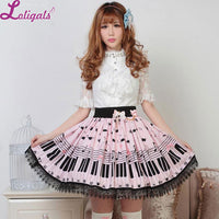 Sweet Lolita Short Skirt Cute Piano Key and Melody Printed Summer Skirt for Women