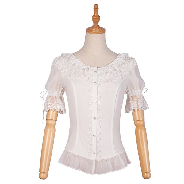 Women's White Chiffon Blouse Short Sleeve Lolita Top by YLF