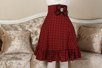 Vintage Female Plaid Midi Skirt Empire Waist Slimming A line Skirt for Women