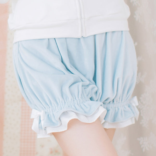 Lovely Cozy Elastic Waist Velvet Lolita Bloomers for Girl with Cute Bow