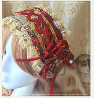 The Kingdom of Heaven Printed Lolita Lace Headband with Lace up Design