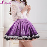 Romantic Purple Dandelion Printed Sweet Lolita Pleated Jumper Lolita Skirt with Lace Trimming