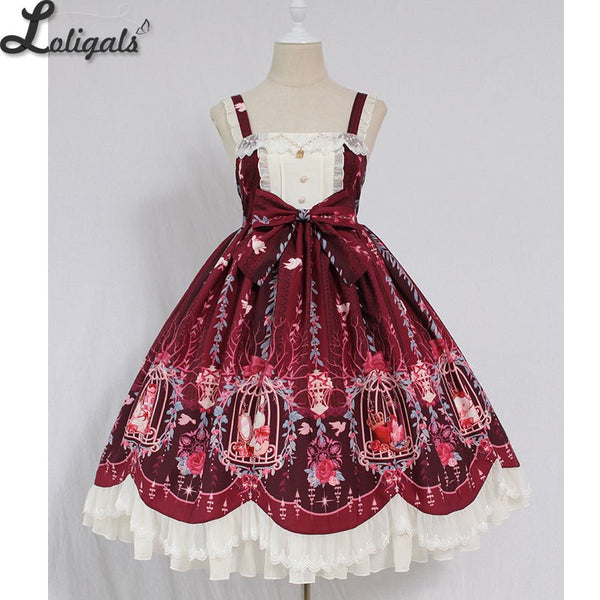 Cage in Dream ~ Sweet Lolita JSK Dress Printed Sleeveless Party Dress by Alice Girl ~ Pre-order