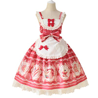 Sweet Desert Printed Lolita JSK Dress with Apron by Alice Girl ~ Pre-order