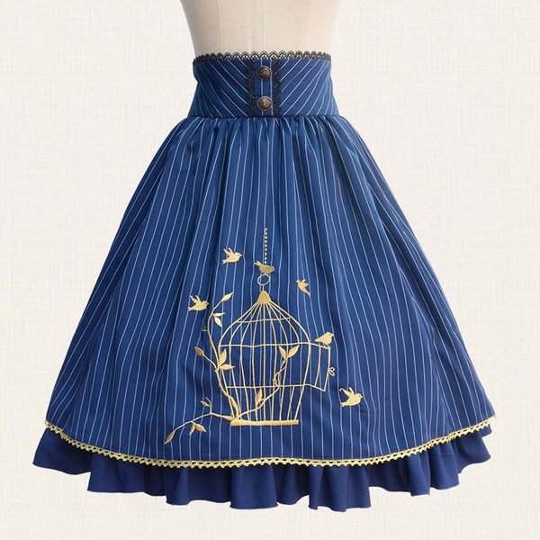 Classic Lolita Skirt Vintage Style Striped A Line Skirt with Cage Embroidery by Lolita Princess