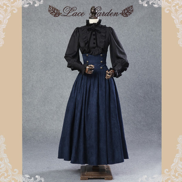 Vintage Steampunk Skirt Victorian Gothic High Waist Long Maxi Skirt with Lace up Waist by Lace Garden