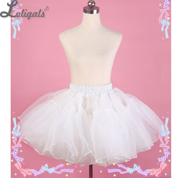 Sweet Super Puffy Short Ball Gown Petticoat White Black Organza Pettiskirt by Diamond Honey