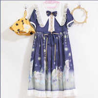 Little Prince ~ Sweet Short Sleeve Lolita Dress Pointed Collar Chiffon Party Dress