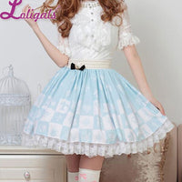Light Sky Blue Sweet Checkered Elastic Waist Lolita Skirt For Lady with Crowned Bow