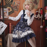 Louis Poker City ~ Vintage Navy Blue Lolita Dress Retro Printed Party Dress