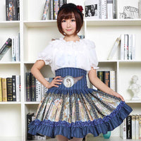 Sweet Mori Girl High Waist Skirt Blue Musha Printed Women's Short Skirt with Ruffles