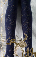Galaxy River Tights Three Color Printed Velvet Lolita Pantyhose