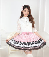 Original Design Sweet Snowflake and Piano Key Printed Short Lolita Skirt with Lace Trimming