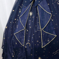 Starry Night ~ Sweet Star Embroidered Long Lolita Dress Navy Blue/White Party Gown